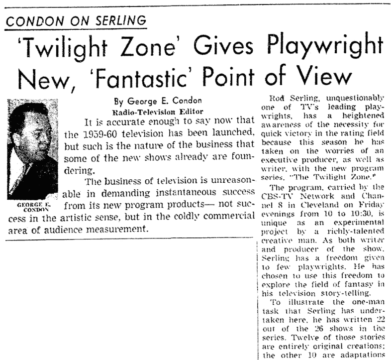 "An article about Rod Serling and ""The Twilight Zone,"" Plain Dealer newspaper article 8 November 1959"