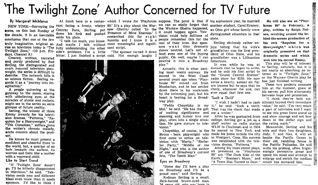 "An article about Rod Serling and ""The Twilight Zone,"" Plain Dealer newspaper article 27 December 1959"