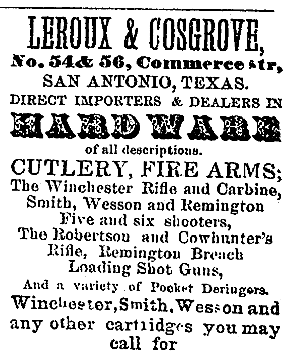 An ad for Winchester rifles, San Antonio Express newspaper advertisement 16 October 1874