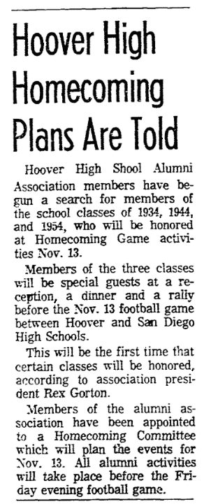 An article about homecoming, San Diego Union newspaper article 8 October 1964