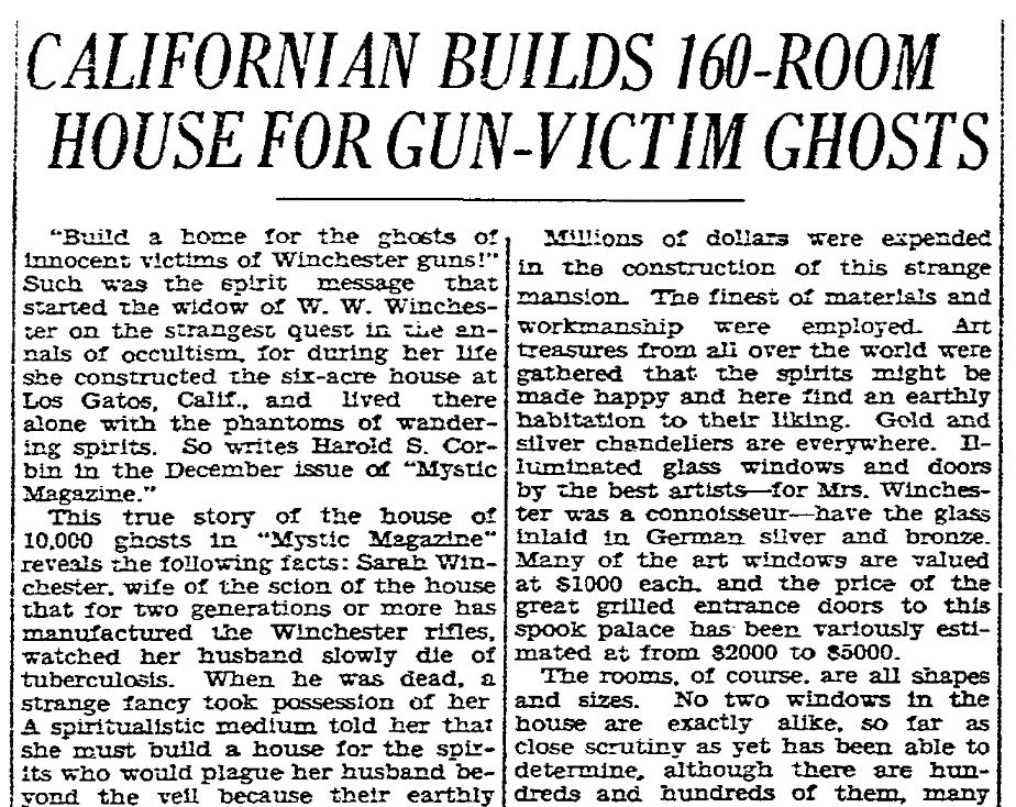 An article about the Winchester Mansion, San Diego Union newspaper article 26 December 1930