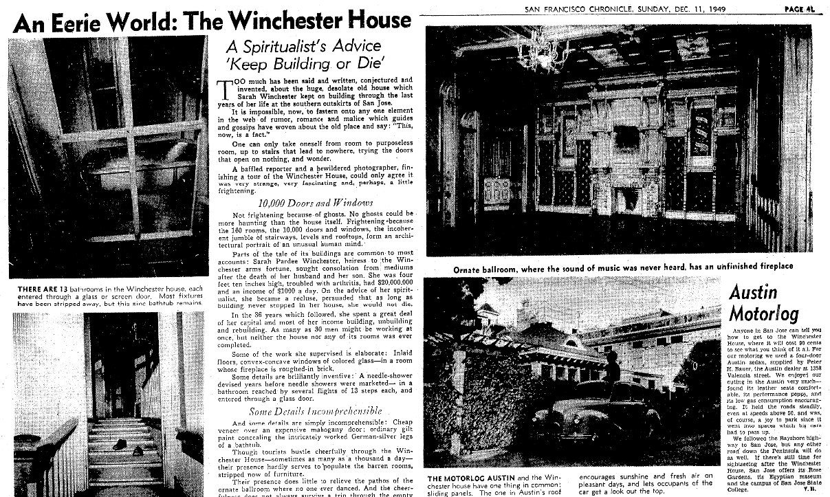 An article about the Winchester Mansion, San Francisco Chronicle newspaper article 11 December 1949