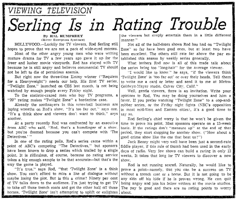 "An article about Rod Serling and ""The Twilight Zone,"" Times-Picayune newspaper article 22 November 1959"