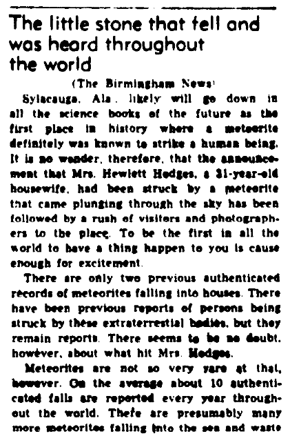 An article about a meteorite, Augusta Chronicle newspaper article 6 December 1954