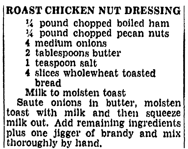 A recipe for road chicken nut dressing, Boston Herald newspaper article 2 November 1940