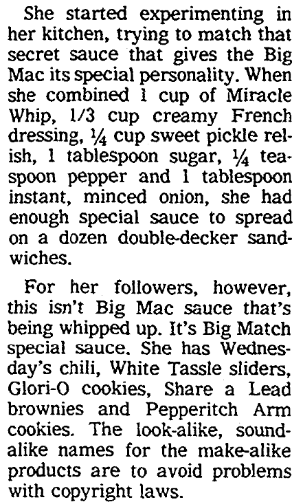 "An article about the ""secret sauce"" used on McDonald's Big Mac hamburger, Columbus Daily Enquirer newspaper article 2 May 1985"