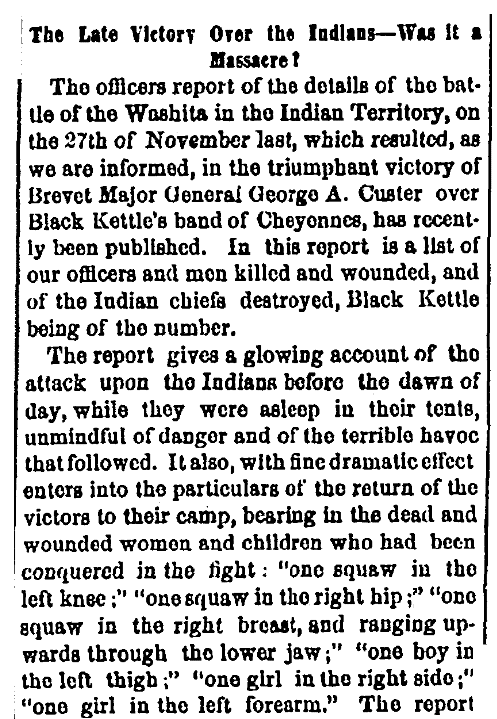 An article about the Battle of Washita River, Daily Albany Argus newspaper article 5 January 1869