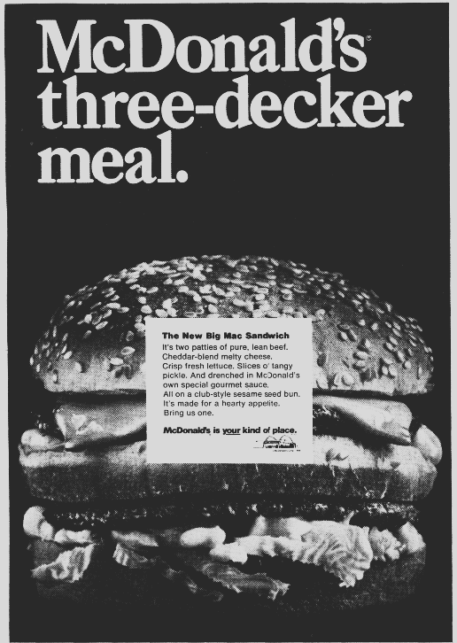 An ad for a McDonald's Big Mac, Daily Northwestern newspaper advertisement 24 September 1968