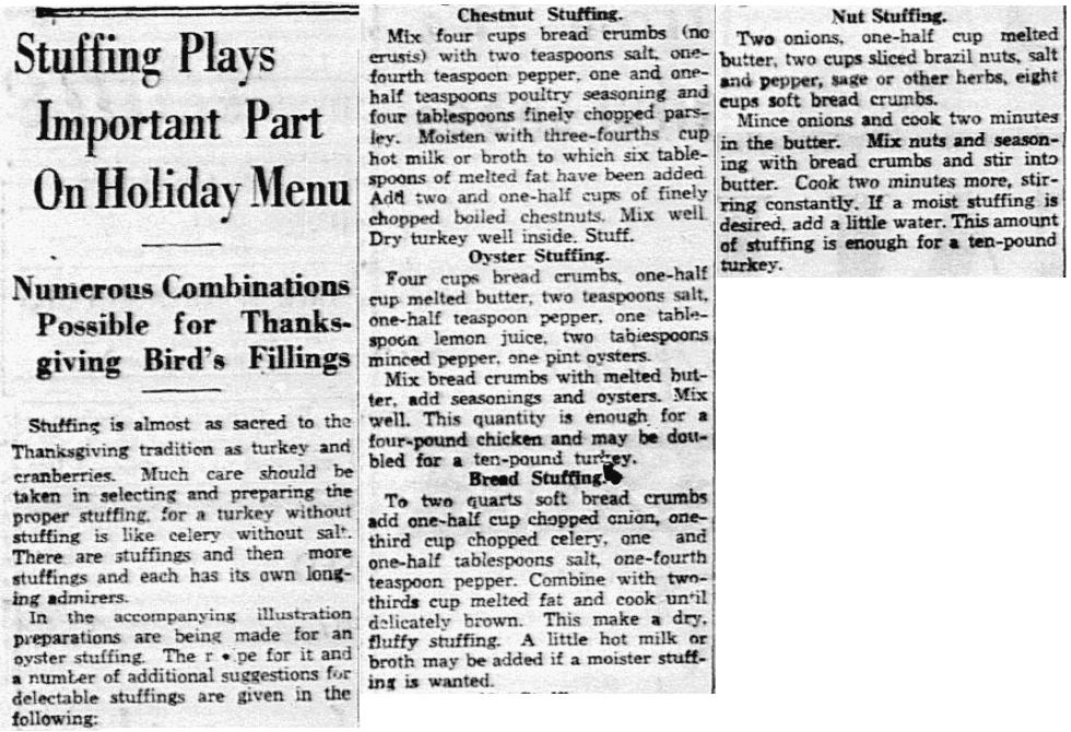 Stuffing recipes, Dallas Morning News newspaper article 22 November 1935