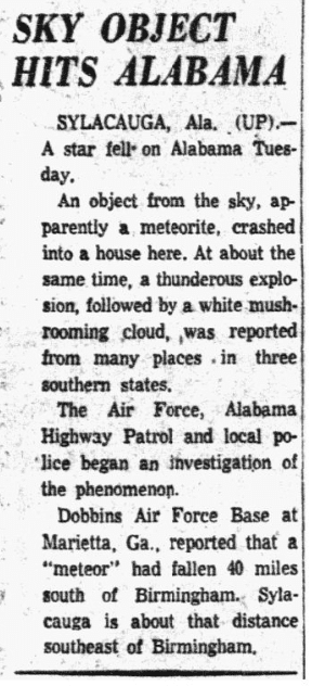 An article about a meteorite, Dallas Morning News newspaper article 1 December 1954