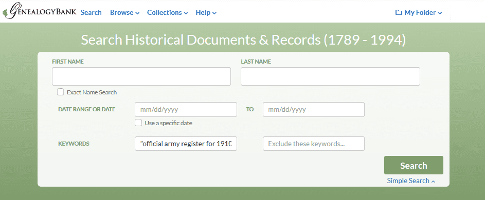 "A screenshot of GenealogyBank's Government Publications search page showing a search for ""Army Register, 1910"""