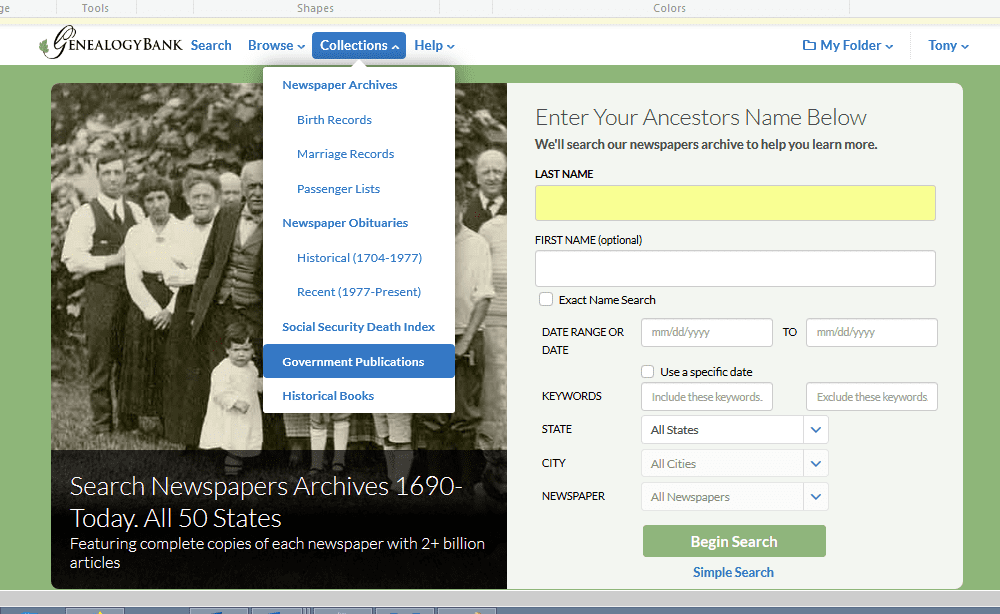 A screenshot of GenealogyBank's home page showing the various collections available