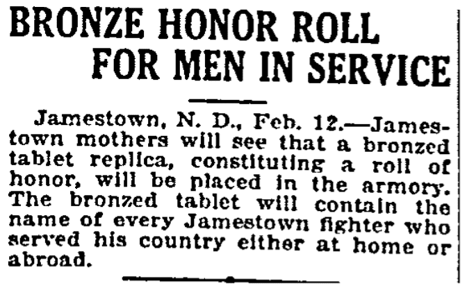 An article about WWI Honor Rolls, Grand Forks Daily Herald newspaper article 13 February 1919