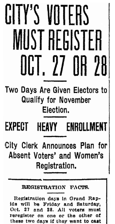 An article about voter registration, Grand Rapids Press newspaper article 26 October 1916