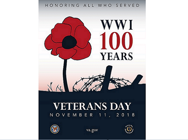 Illustration: poster for Veterans Day 2018, the 100th anniversary of the end of World War I. Credit: U.S. Department of Veterans Affairs; Wikimedia Commons.