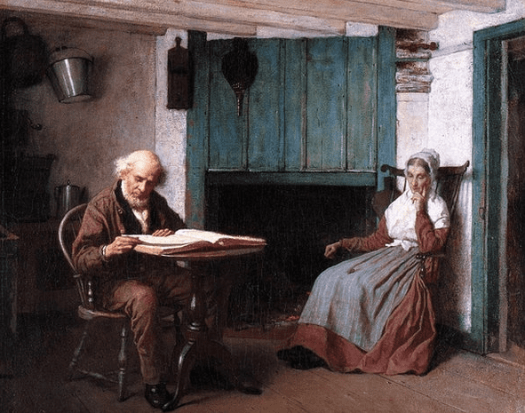 """Illustration: """"Thy Word Is a Lamp unto My Feet and a Light unto My Path,"""" by Eastman Johnson, c. 1878-1881"""