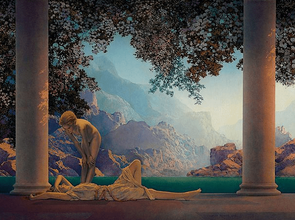 """Illustration: """"Daybreak"""" by Maxfield Parrish, 1922. Credit: Wikimedia Commons."""