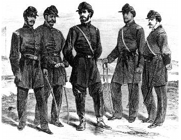 Illustration: officers of Company C of the 1st Louisiana Native Guard at Fort Macomb, Louisiana