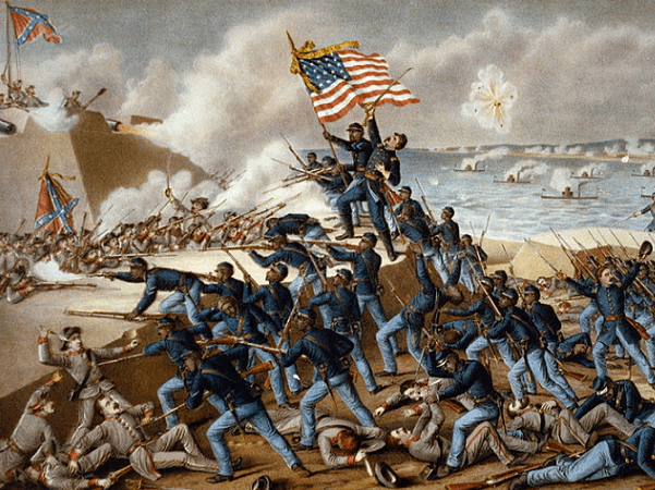 """Illustration: """"Storming Fort Wagner"""" by Kurz & Allison. Credit: Library of Congress, Prints and Photographs Division."""