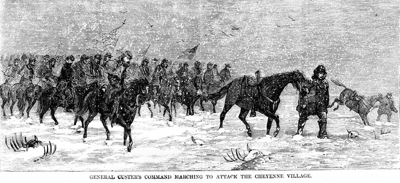 "Illustration: ""General Custer's command marching to attack the Cheyenne village,"" from Harper's Weekly, 19 December 1868"