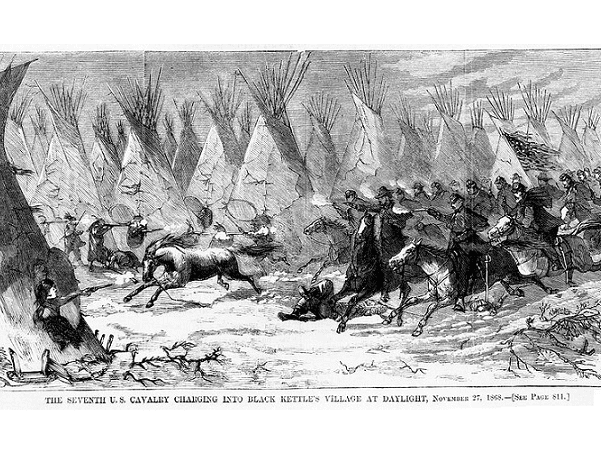 """Illustration: """"The Seventh U.S. Cavalry charging into Black Kettle's village at daylight, November 27, 1868,"""" from Harper's Weekly, 19 December 1868. Credit: Library of Congress, Prints and Photographs Division."""