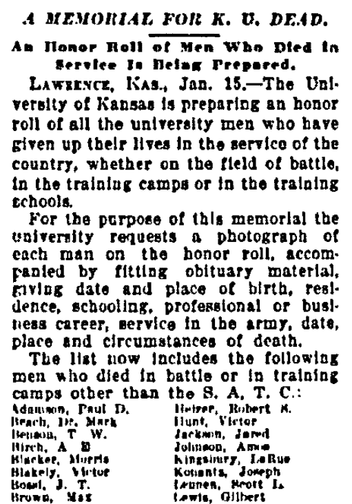 An article about WWI Honor Rolls, Kansas City Star newspaper article 15 January 1919