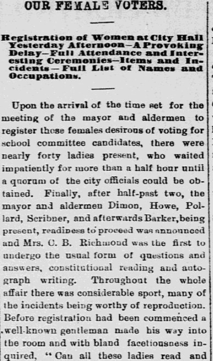 An article about female voters, Lowell Daily Citizen and News newspaper article 13 November 1879