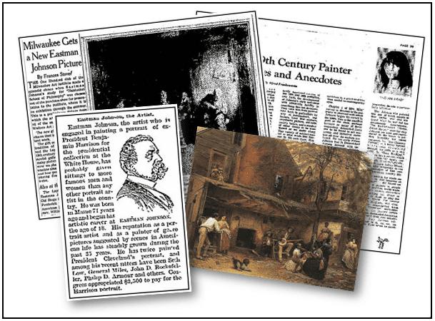 A montage of newspaper articles about Eastman Johnson