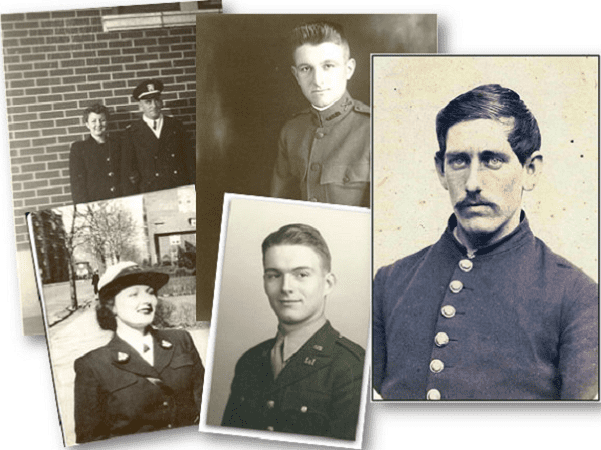 A montage of photos of ancestors in the Kemp family tree who were veterans