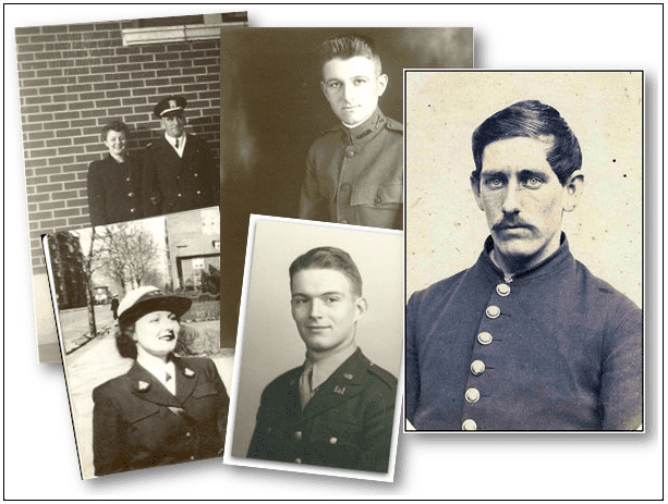 A montage of ancestors who were veterans