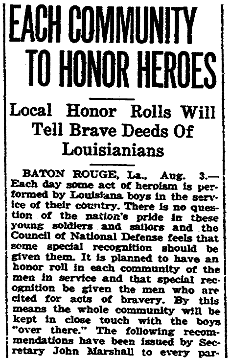 An article about WWI Honor Rolls, New Orleans States newspaper article 4 August 1918