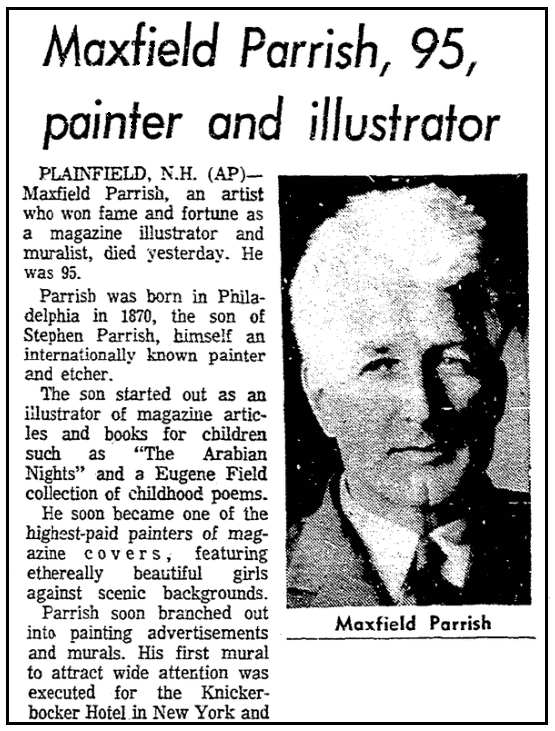 An obituary for Maxfield Parrish, Newark Star Ledger newspaper article 31 March 1966