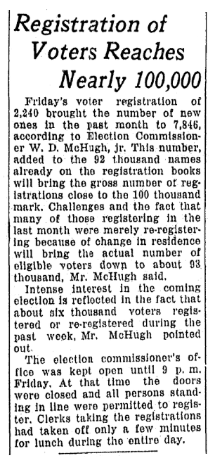 An article about voter registration, Omaha World-Herald newspaper article 25 October 1930