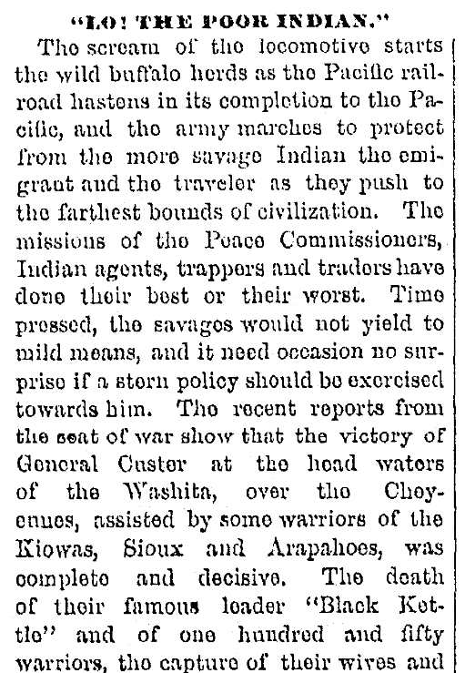 An article about the Battle of Washita River, Patriot newspaper article 5 December 1868