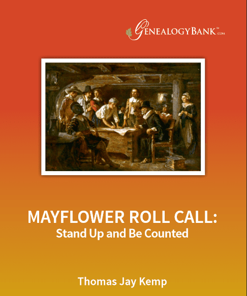 "Photo: cover of GenealogyBank's eBook ""Mayflower Roll Call"""