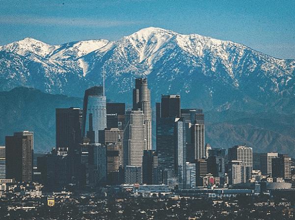 Photo: Los Angeles skyline and San Gabriel mountains, California. Credit: salewskia; Wikimedia Commons.