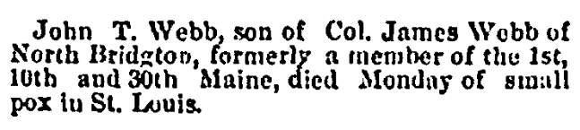 An obituary for John T. Webb, Portland Daily Press newspaper article 24 March 1873