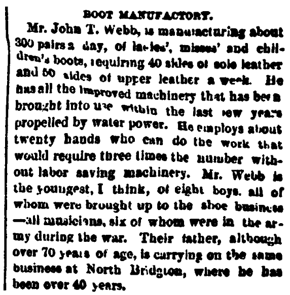 An article about John T. Webb, Portland Daily Press newspaper article 19 December 1868