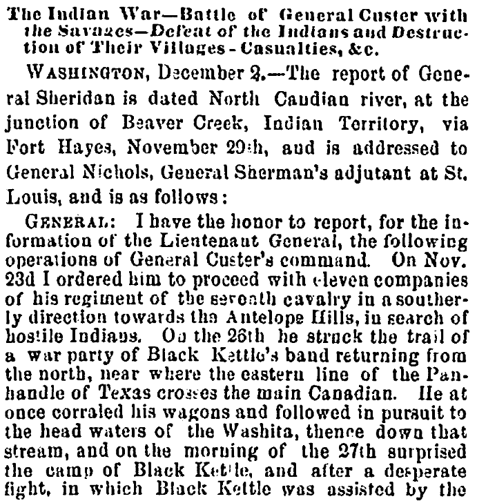 An article about the Battle of Washita River, Richmond Whig newspaper article 4 December 1868