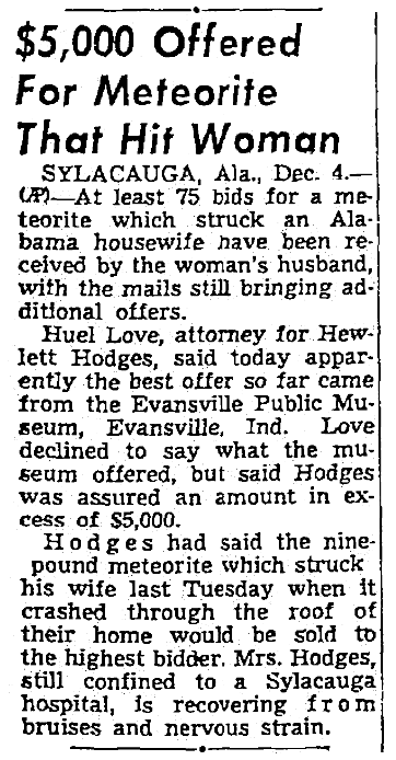 An article about a meteorite, Seattle Daily Times newspaper article 5 December 1954