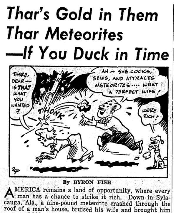An article about a meteorite, Seattle Daily Times newspaper article 8 December 1954