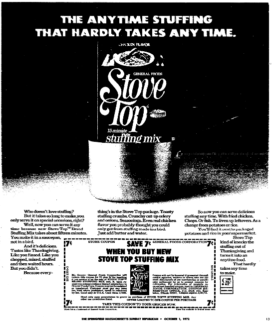 An ad for stuffing mix, Springfield Union newspaper advertisement 1 October 1972