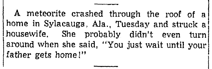 An article about a meteorite, Springfield Union newspaper article 2 December 1954