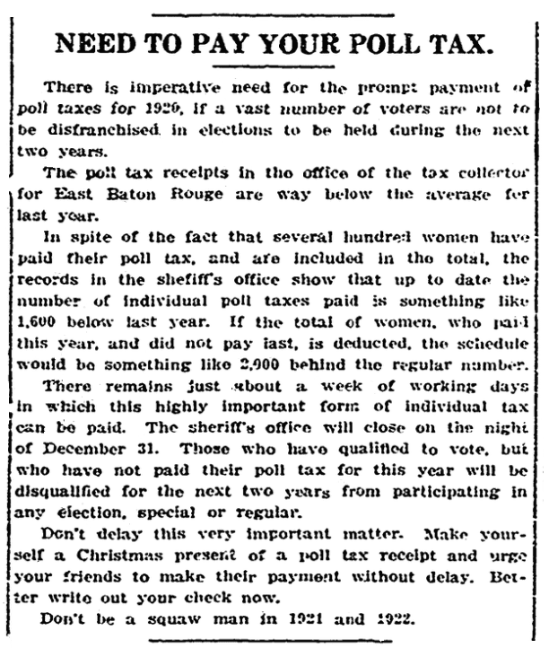 An article about a poll tax, State Times Advocate newspaper article 22 December 1920