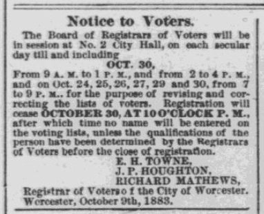 An article about voter registration, Worcester Daily Spy newspaper article 18 October 1883