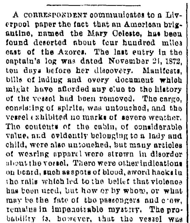 "An article about the mystery of the ""ghost ship"" Mary Celeste, Albany Evening Journal newspaper article 1 March 1873"