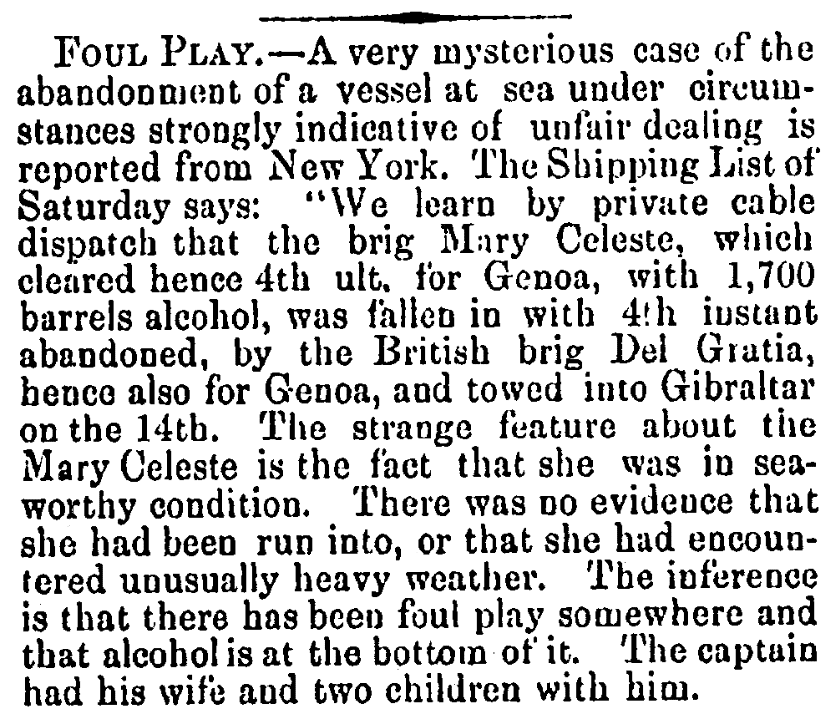 "An article about the mystery of the ""ghost ship"" Mary Celeste, Alexandria Gazette newspaper article 24 December 1872"