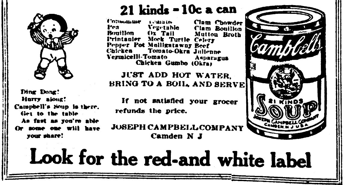 An ad for Campbell's Soup, Evening Star newspaper advertisement 23 February 1910