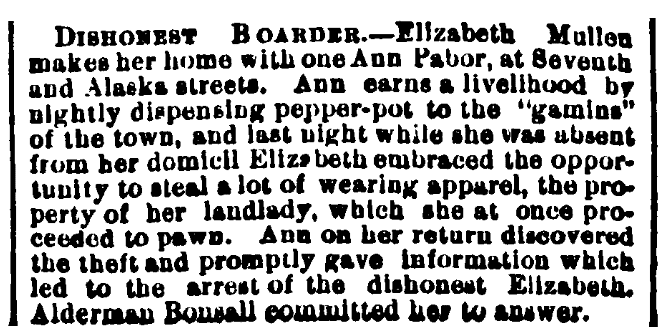 An article about Pepper Pot soup, Evening Telegraph newspaper article 26 January 1871