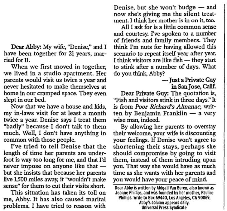 """A """"Dear Abby"""" column, Fort Worth Star-Telegram newspaper article 28 September 2003"""